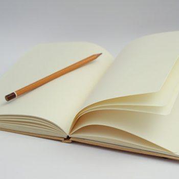 A blank notebook.