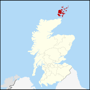 Map showing the location of the Orkney Islands at the far north of Scotland