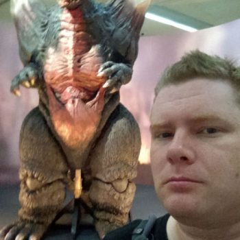 Me, posing next to the orignal SpaceGodzilla suit.