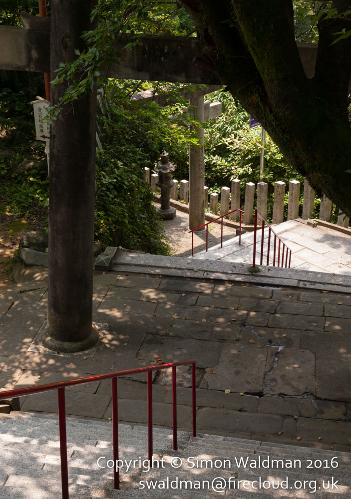 Steps, this time from above, with a torii and a red handrail