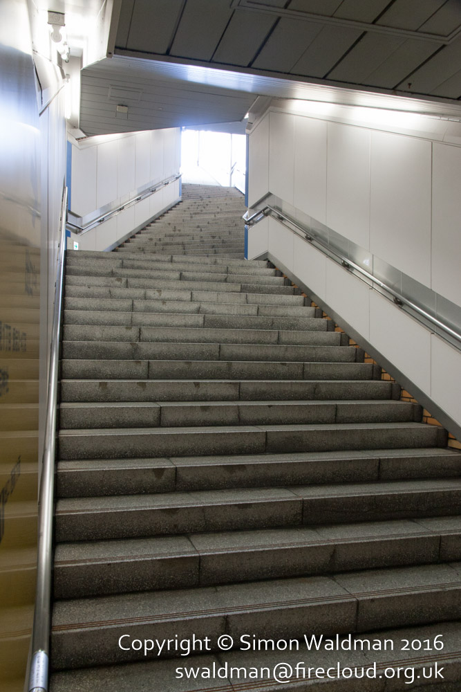 Many, many steps at the exit from a subway station