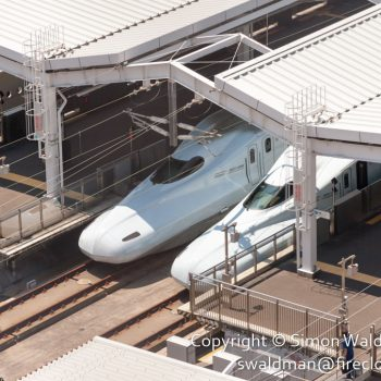 Noses of two N700-series Shinkansen trains (bullet trains) in a station