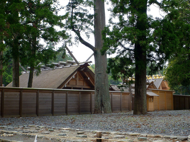 A new-looking timber building behind a fence in woodland, built in the style of a pre-buddhist Shinto shrine