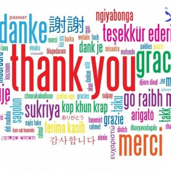 "Wordcloud of ""thank you"" in many languages."