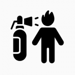 Icon depicting a fire extinguisher aimed at somebody whose head is replaced with a flame